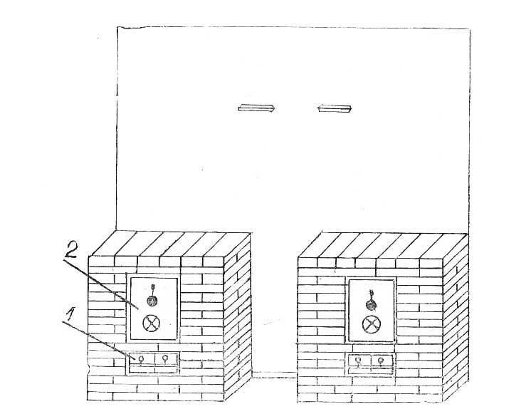 Печь отопительная на газовом топливе № 13, вид спереди - Леноблпечь
