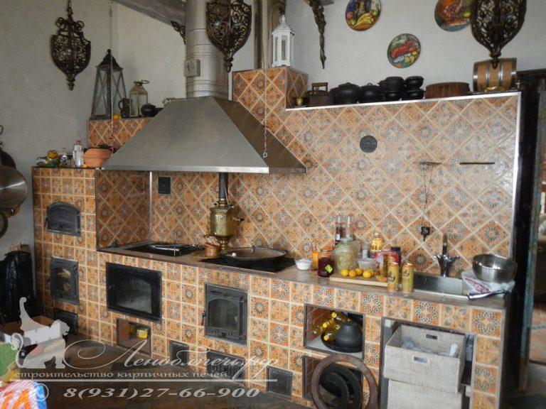 Барбекю Арабское с духовым шкафом, открытым мангалом, плитой, столом, раковиной