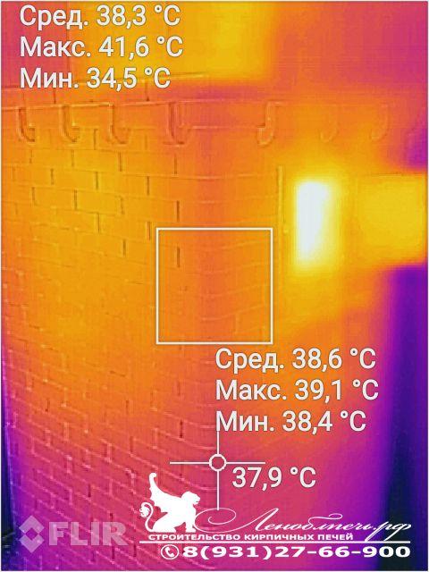 Съемка тепловизором - температура банной печи