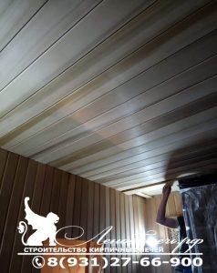 Подшивка потолка парной