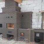 Кирпичный кухонный комплекс с русской печью, мангалом, плитой под казан, нишей для раковины