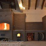 Печной комплекс с хлебной камерой, мангалом, плитой, нишами для стола и раковины. Кирпич Брунис