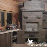 Печной комплекс с нишей под раковину, стол, русской печью, плитой