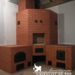 Кухонный печной комплекс с столом, мангалом, плитой под казан