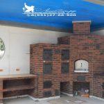 Печной комплекс с нарезочным столом, с коптильнями горячего и холодного копчения, русской печью и плитой под казан
