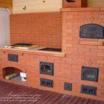 Печной комплекс с открытым мангалом, варочной панелью и хлебной камерой