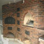 Кухонный комплекс с мини-русской печью, хлебной камерой, мангалом и нарезочным столом