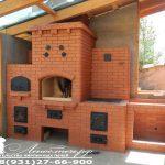 Печной комплекс с мангалом, плитой, хлебной камерой и нишей под мойку