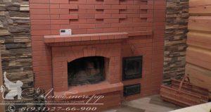 Банная печь с открытым камином