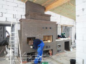 Кухонный печной комплекс с русской печью, мангалом, плитой под казан, разделочным столом