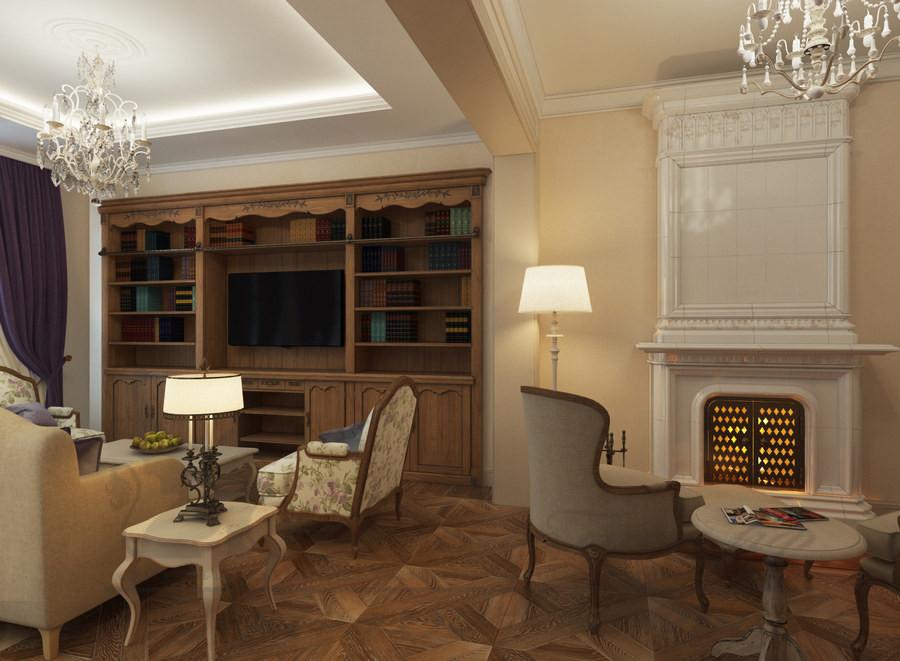 Изразцовая каминопечь «Марфуша» в дизайне квартиры